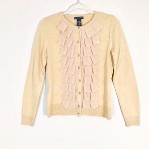 New York & Company Chiffon Ruffle Cardigan Sweater